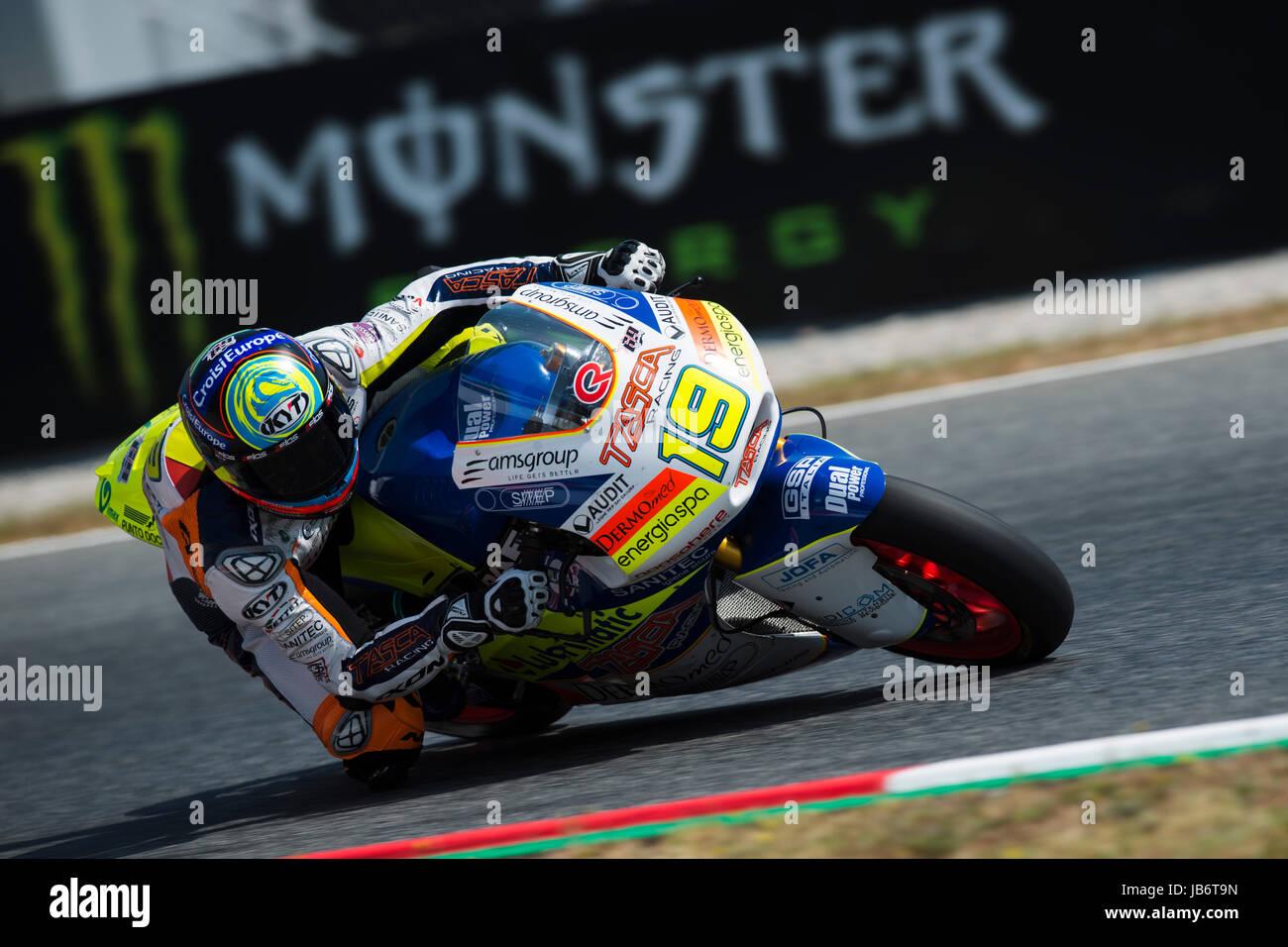 Montmelo, Spain. 09th June, 2017. #19 Xavier Simeon (Bel) Tasca Racing Scuderia Moto2 Kalex during a free practice - Stock Image