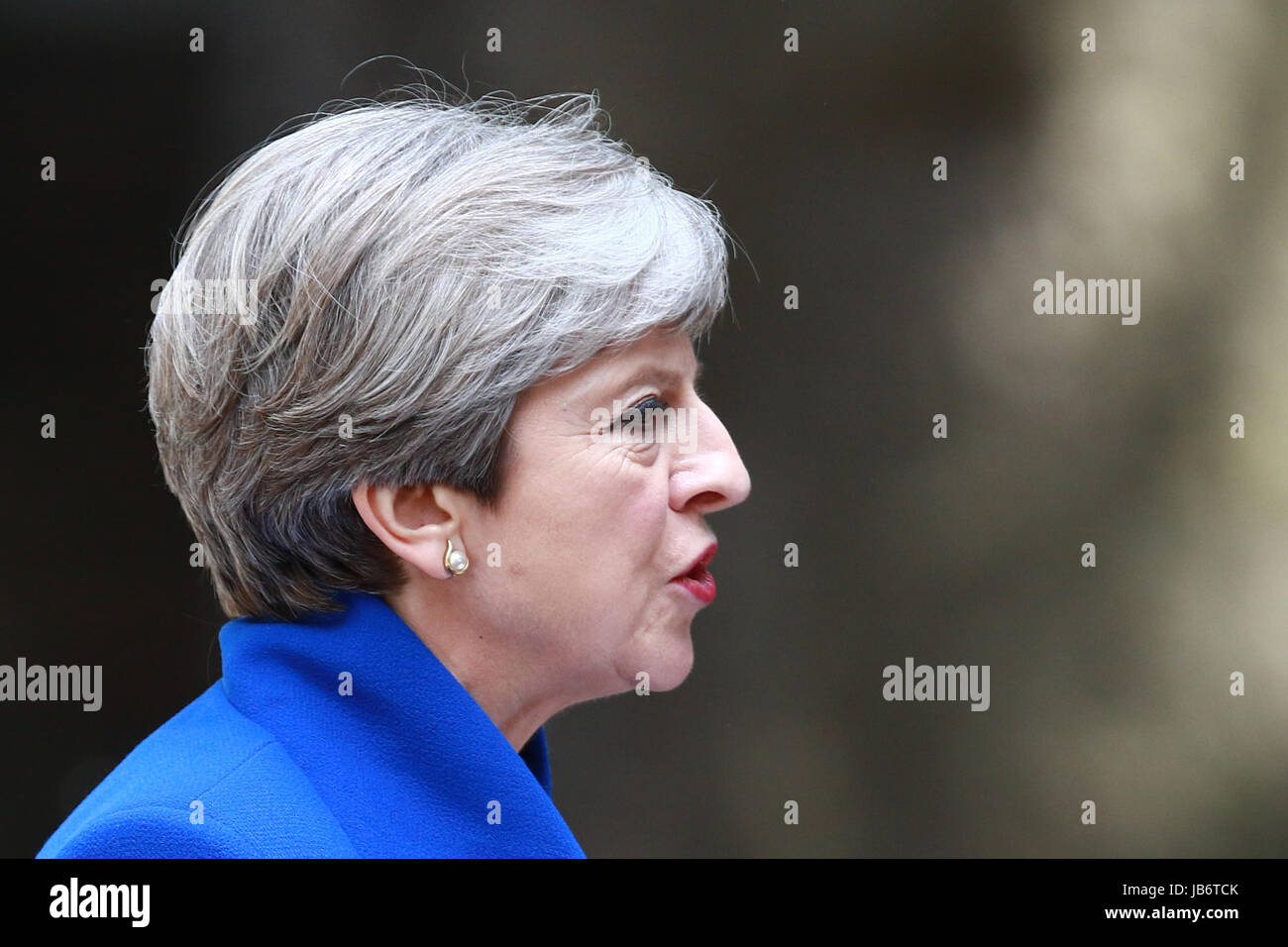 London, UK. 09th June, 2017. Theresa May, still the Prime Minster of Great Britain, delivers her speech after asking - Stock Image