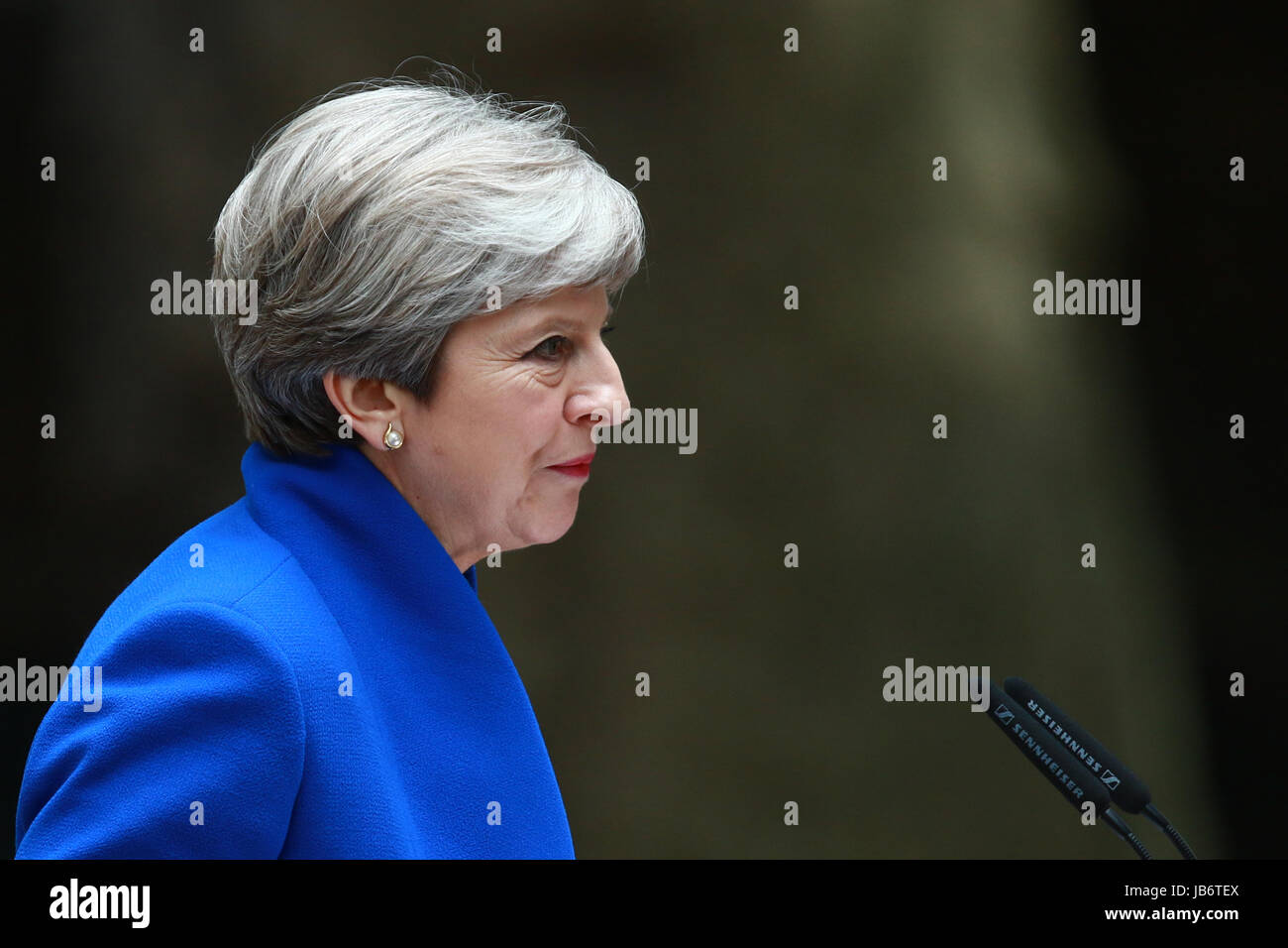 London, UK. 09th June, 2017. Theresa May, still the Prime Minster of Great Britain, is watched by husband Philip, - Stock Image