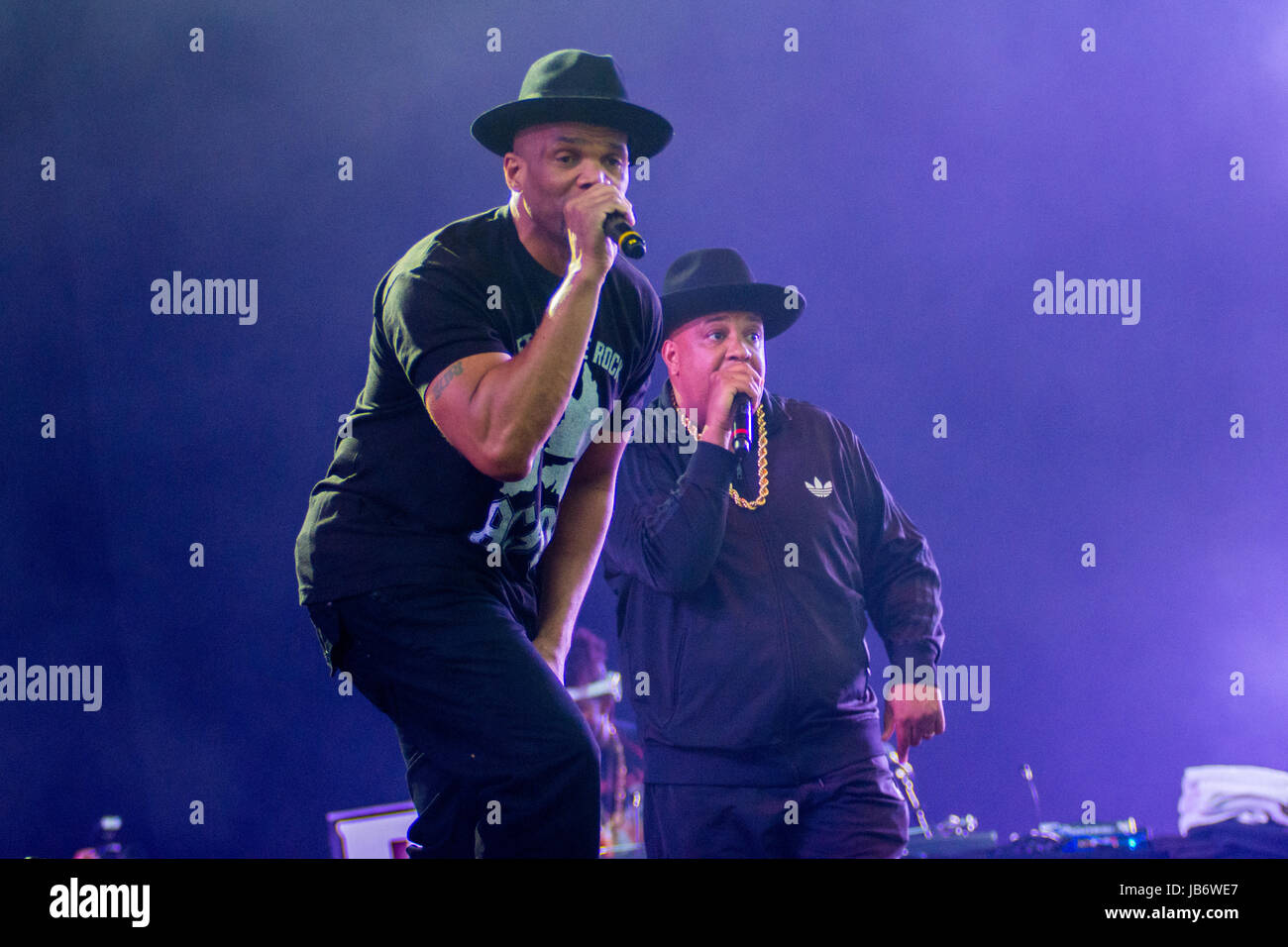 Run DMC had the crowd jumping at the main stage of The Isle of Wight Festival 2017 - Stock Image