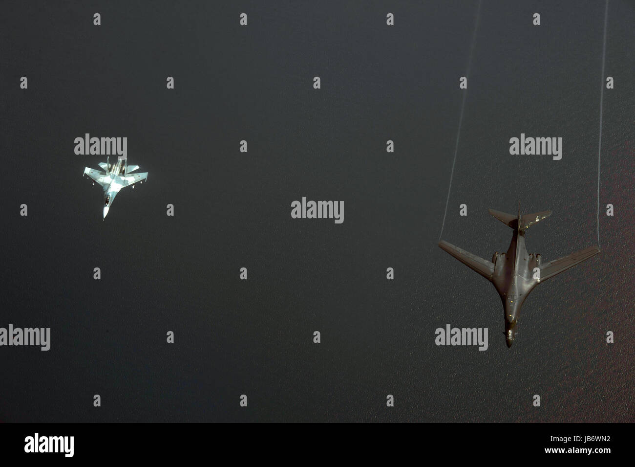 Baltic Sea. 09th June, 2017. A U.S. Air Force B-1B Lancer bomber, right, from the 28th Bomb Wing is intercepted - Stock Image