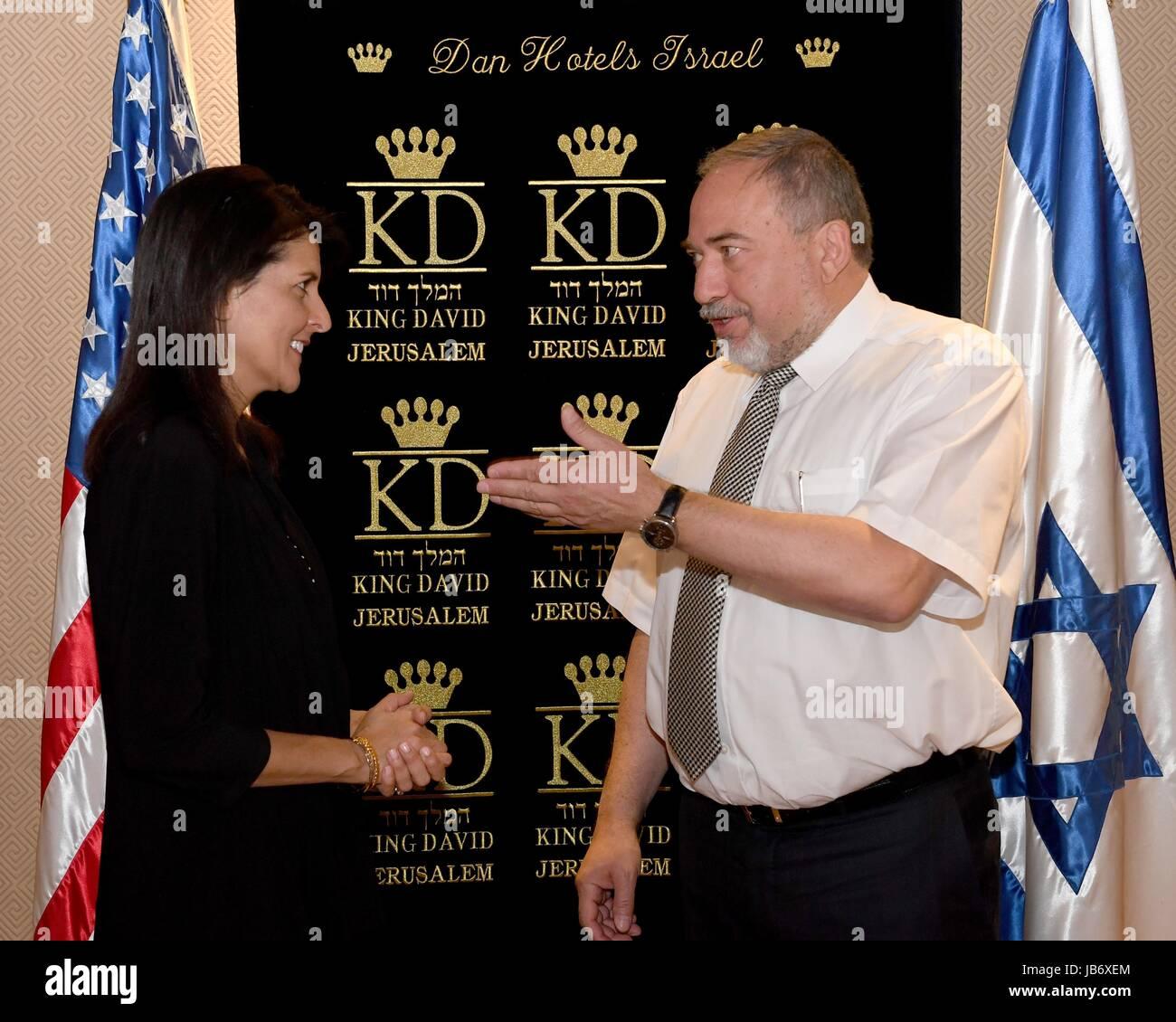 Jerusalem, Israel. 09th June, 2017. U.S. Permanent Representative to the UN, Ambassador Nikki Haley meets with Israeli - Stock Image