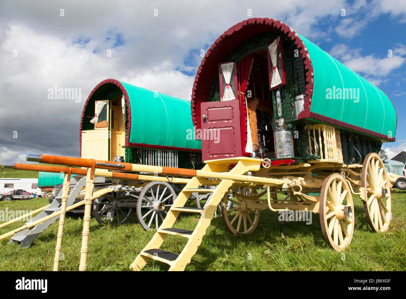 Appleby-in-Westmorland, U.K. 9th June 2017. Traditional bow top gypsy wagons  at the Appleby Horse Fair. The fair Stock Photo