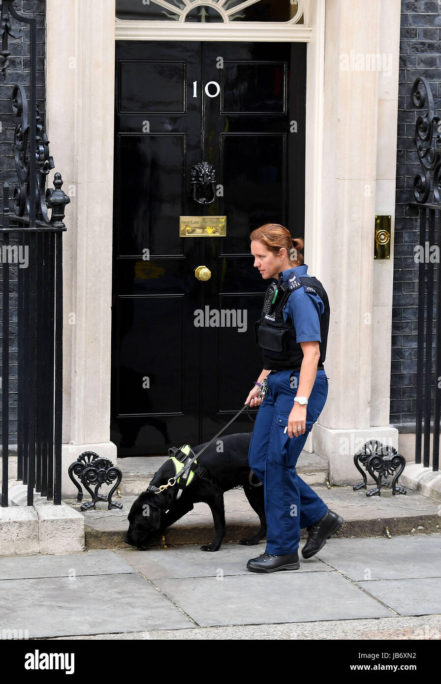 Police patrolling at Number 10 Downing Street, London, UK. Security at Downing St - Stock Image