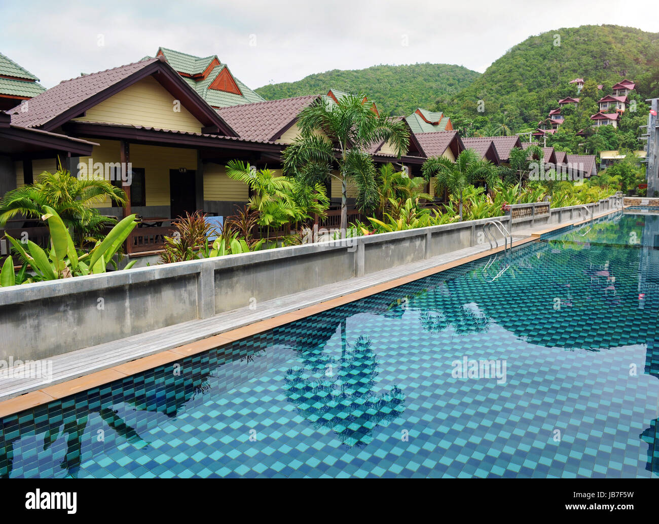 Swimming pool at the luxury hotel, Phangan, Thailand - Stock Image
