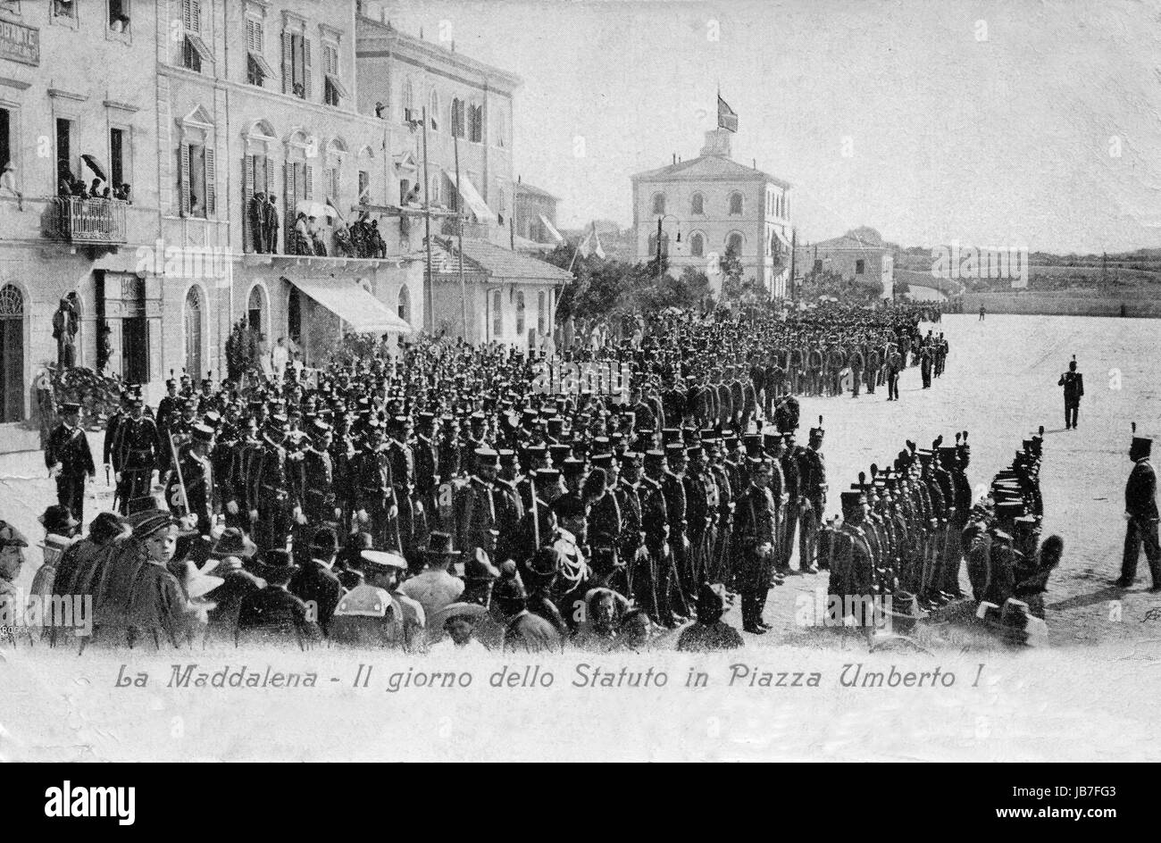 Vintage postcard. La Maddalena, Sardinia. Military parade on the Constitution Day on First Sunday of June end of - Stock Image