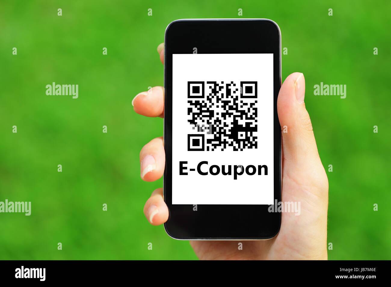 Coupon Qr Code On Smart Phone Stock Photo 144613686 Alamy