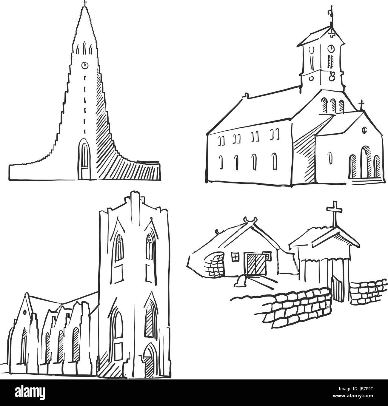 Reykjavik Iceland Famous Buildings, Monochrome Outlined Travel Landmarks, Scalable Vector Illustration - Stock Image