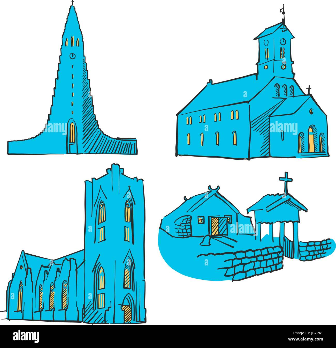 Reykjavik Iceland Colored Landmarks, Scalable Vector Monuments. Filled with Blue Shape and Yellow Highlights. - Stock Vector