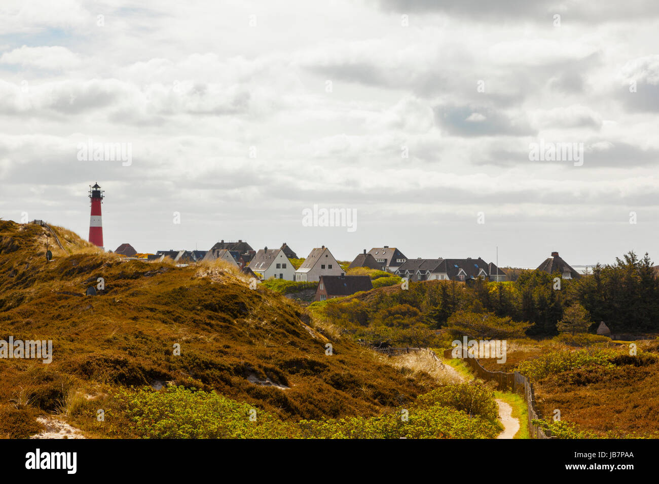Sylt, village and lighthouse of Hörnum Stock Photo