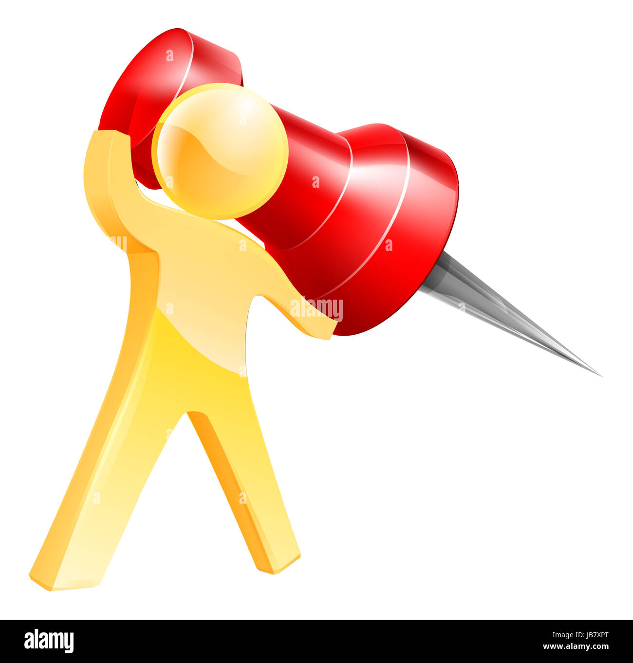 An illustration of a gold person pinning something with a giant map pin or thumb tack - Stock Image