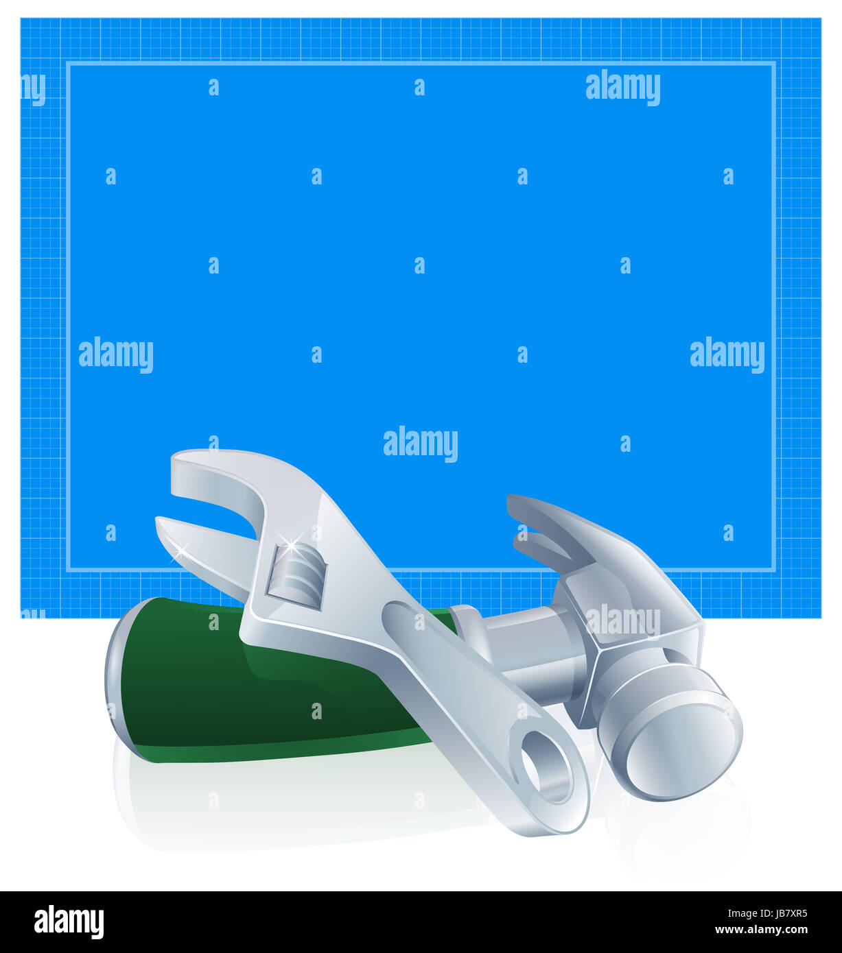 Tools blueprint construction building trade background of blue stock tools blueprint construction building trade background of blue blueprint paper and hammer and spanner wrench tools malvernweather Image collections