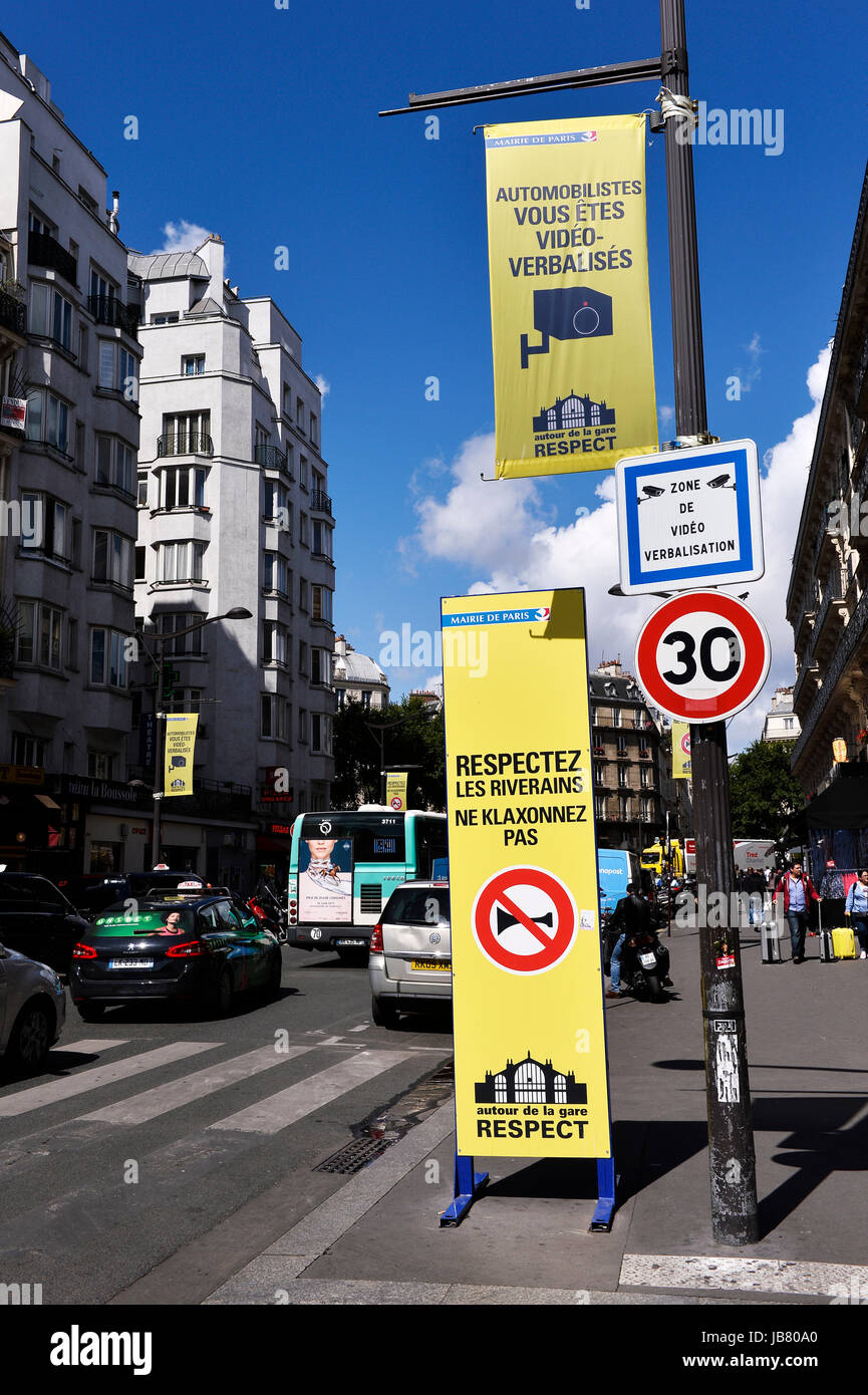 No parking, no horn, video zone, North Railway Paris Station, France - Stock Image