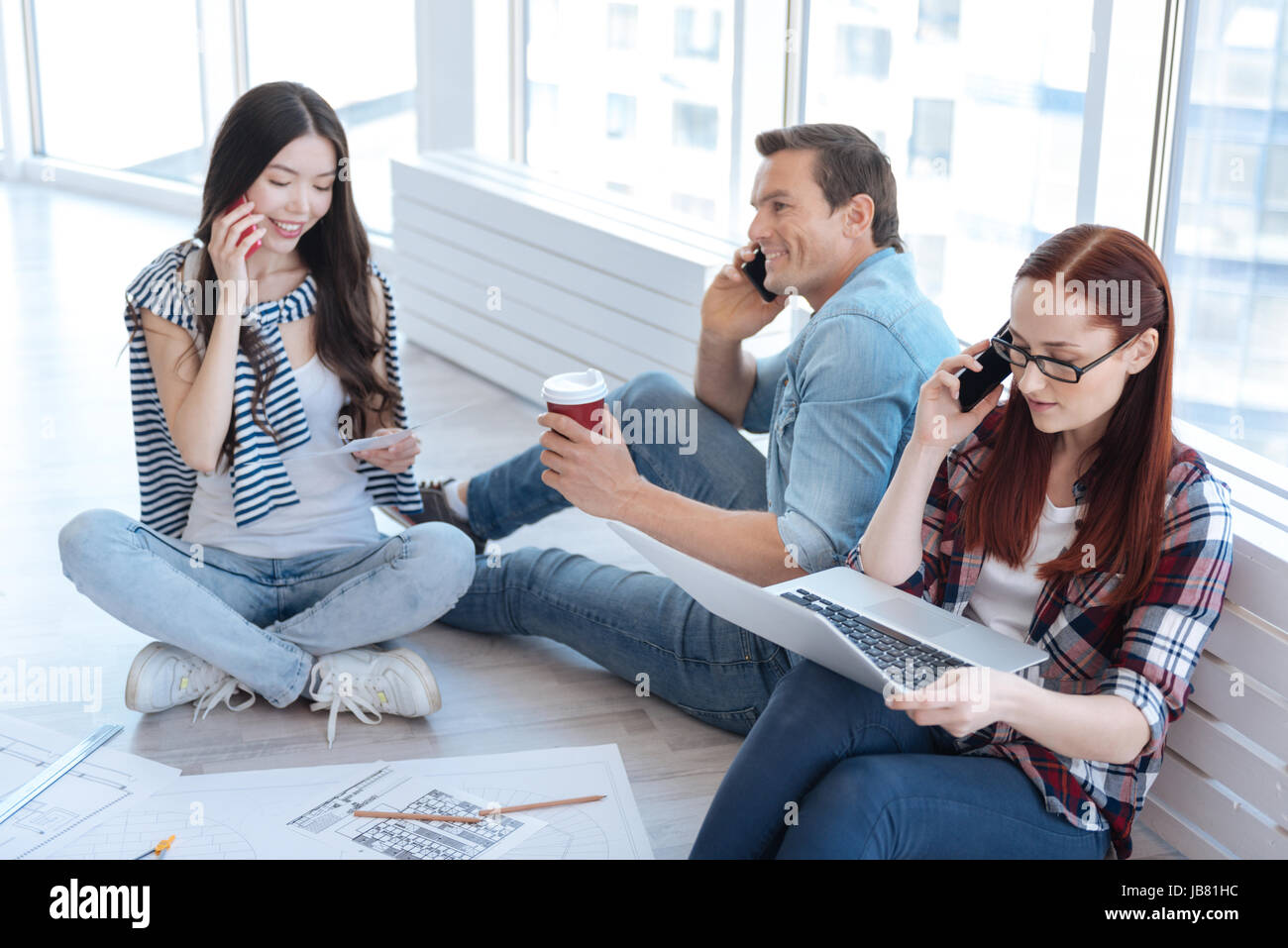 Nice young people speaking on the phone Stock Photo