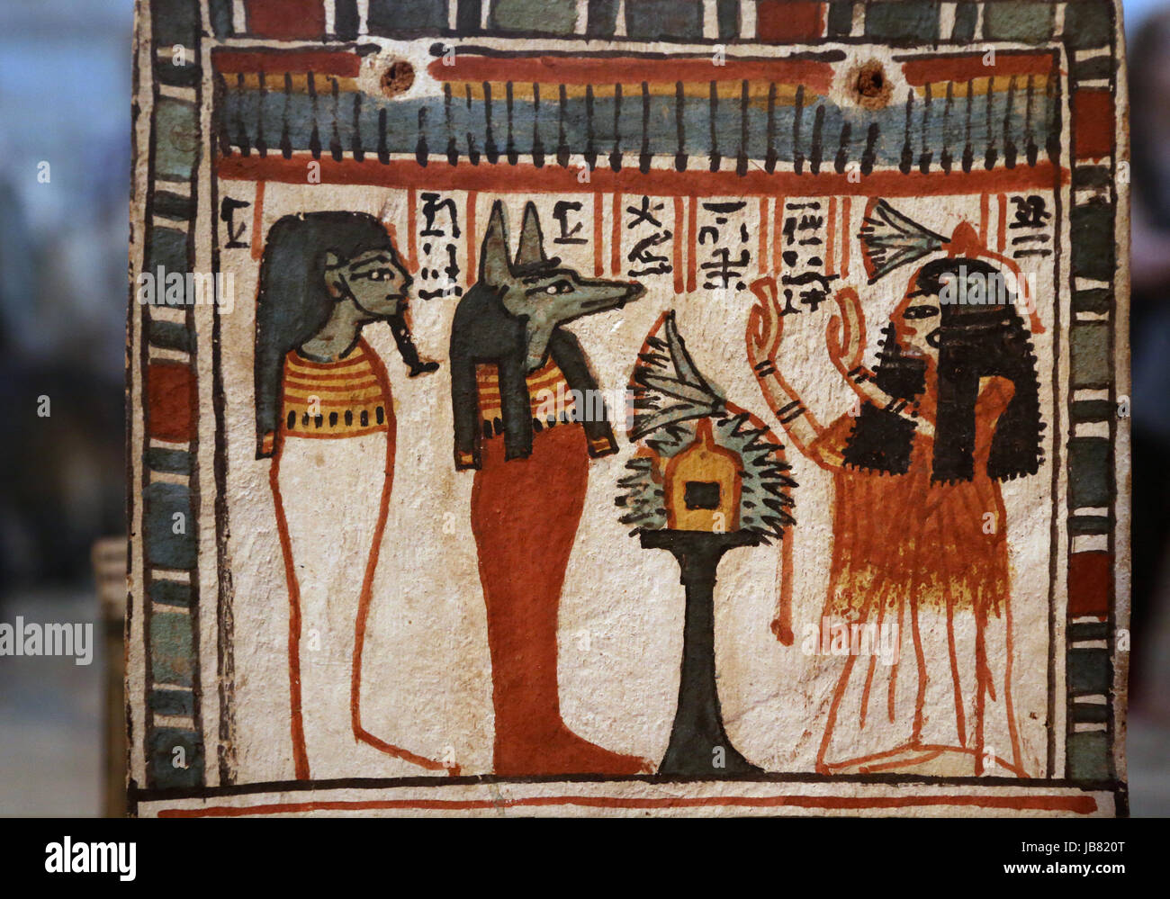 Painting wooden shabti Box. Henutmehyt adoring mummiform figures. 19th Dynasty. Thebes. British Museum. London. - Stock Image