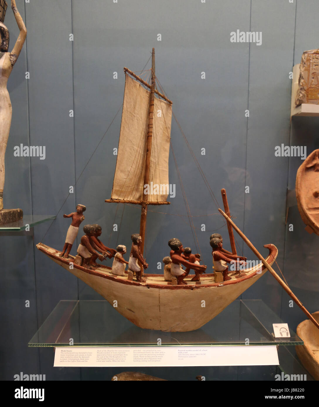 Wooden model of sailing boat. 12th century, about 1985-1795 BC. Provenance unknown. British Museum. London. UK. - Stock Image