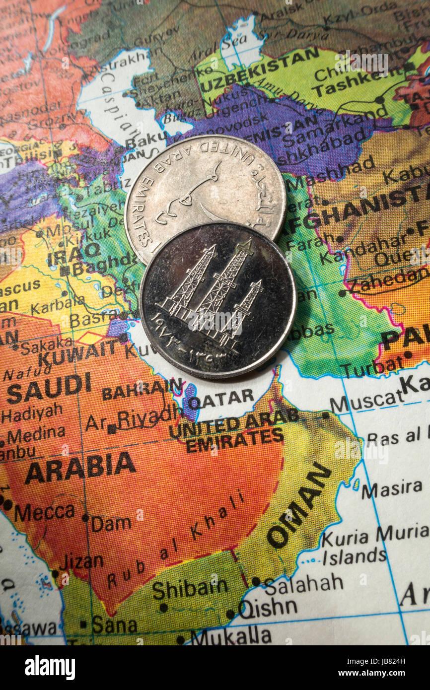 United Arab Emirates Coin on World Map Still Life - Stock Image