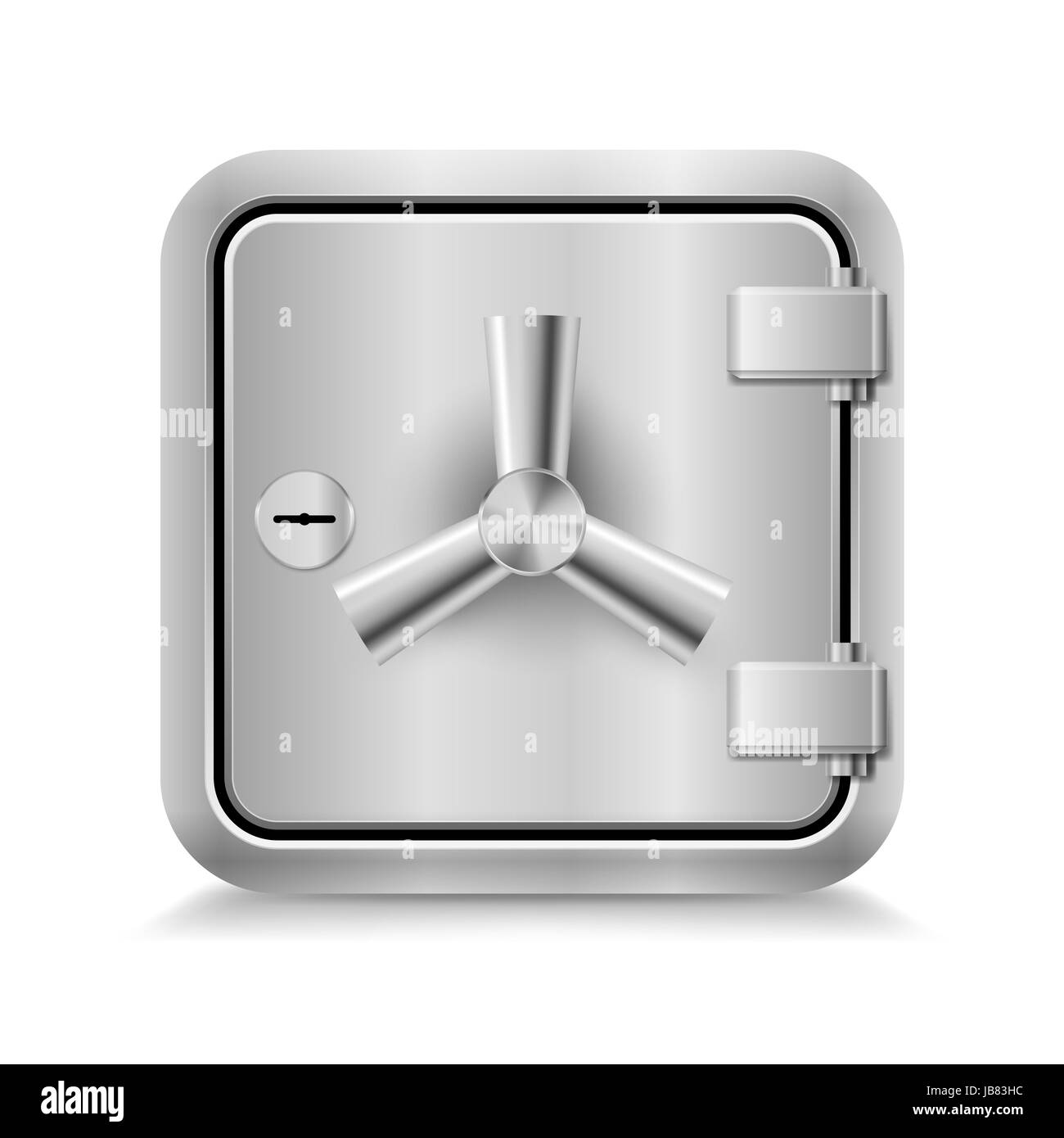 Icon of metal safe with key lock on white background - Stock Image