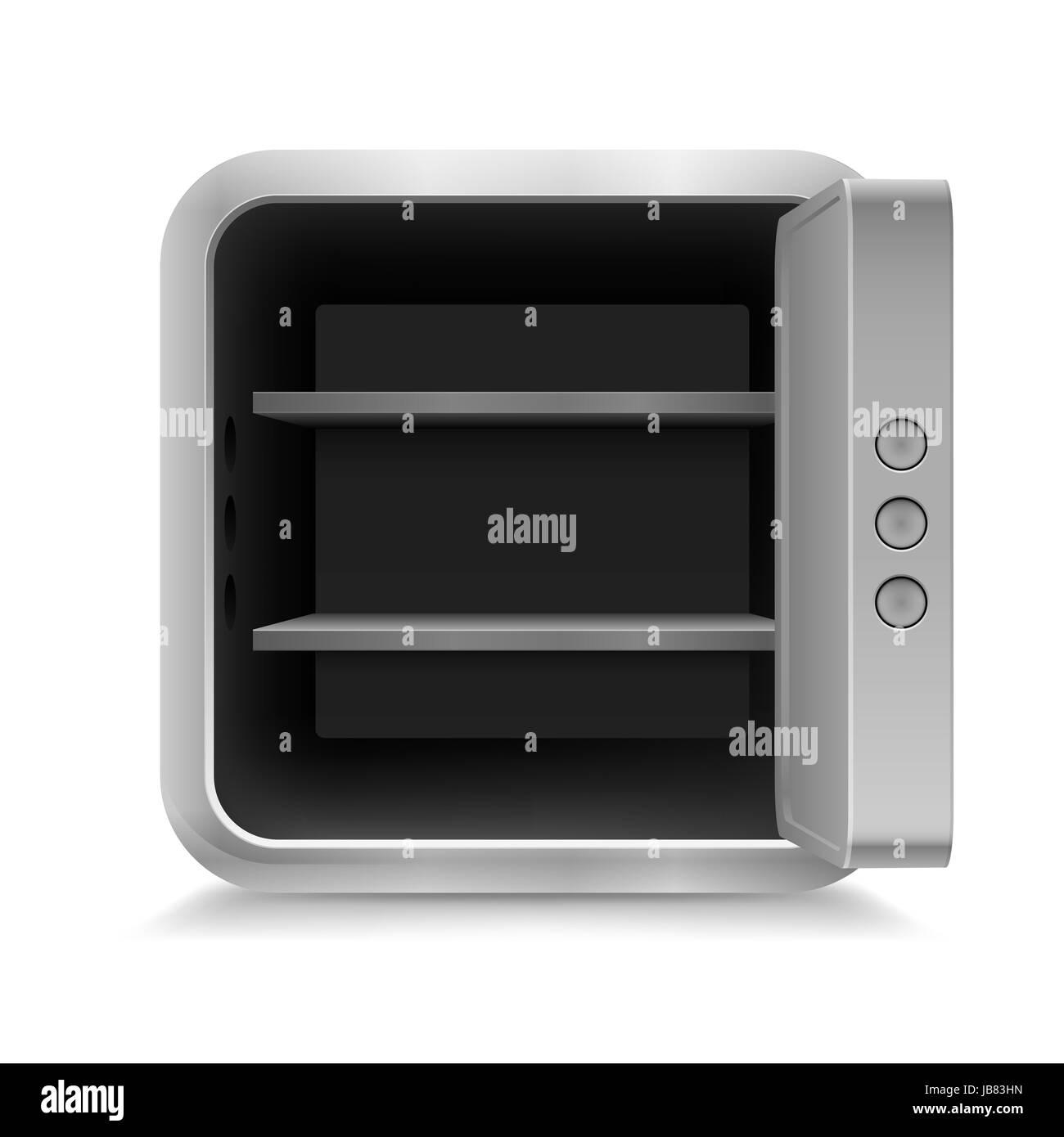 Illustration of open empty safe on white background - Stock Image