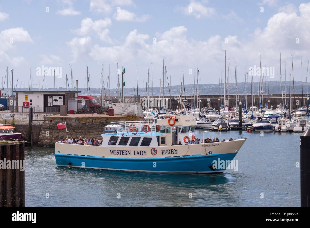 The Western Lady VII Ferry leaves it's berth at Torquay on it's way to Brixham. The ferry service has been - Stock Image