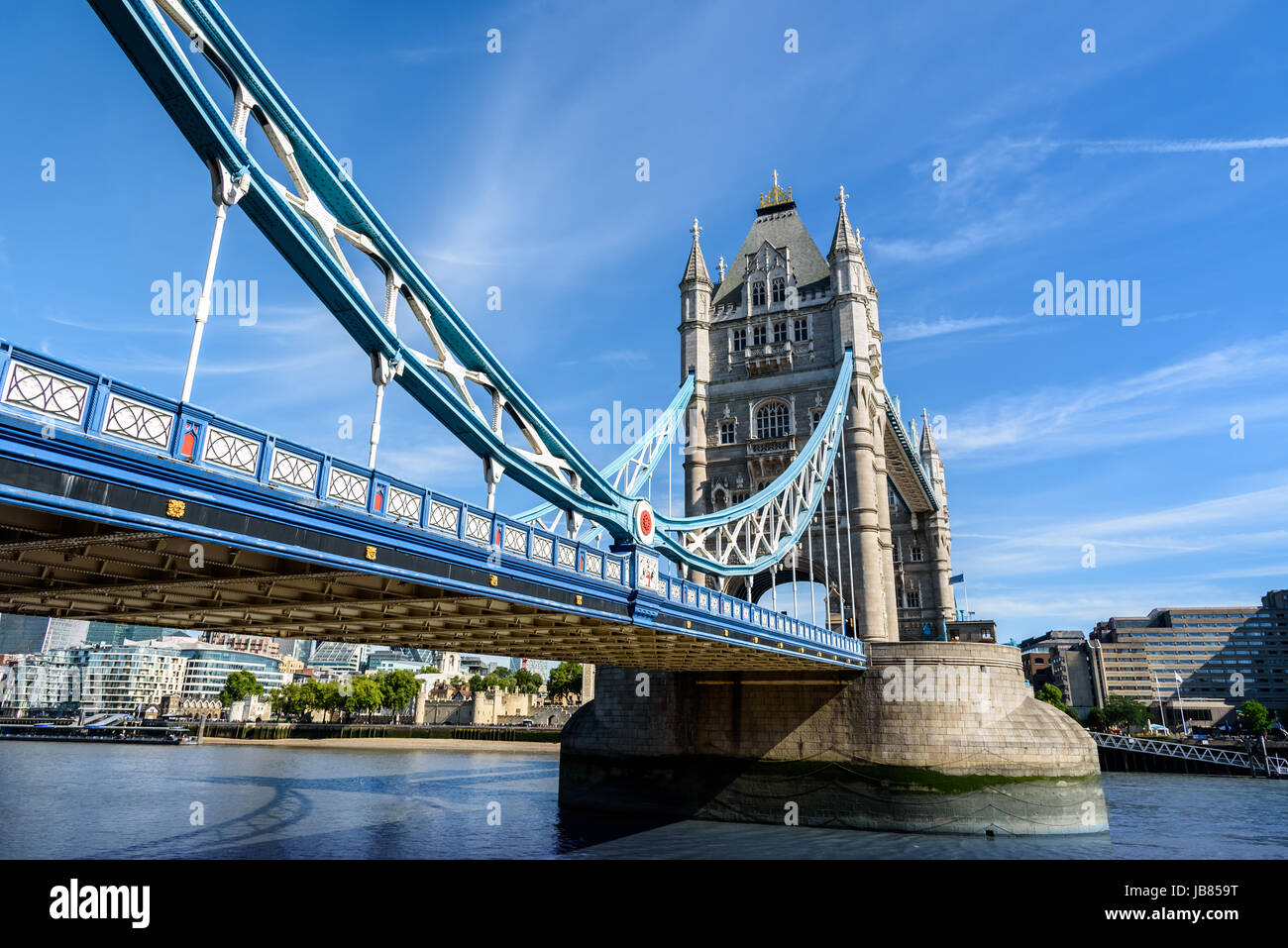view of famous Tower Bridge over the River Thames, London, UK, England - Stock Image