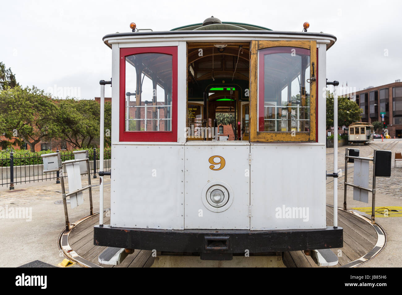 A cable car at a turnaround in San Francisco - Stock Image