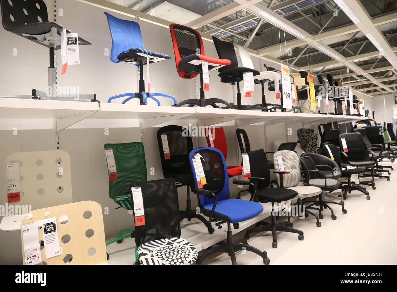 stock photo coquitlam december 18 display furniture with office chair set of ikea