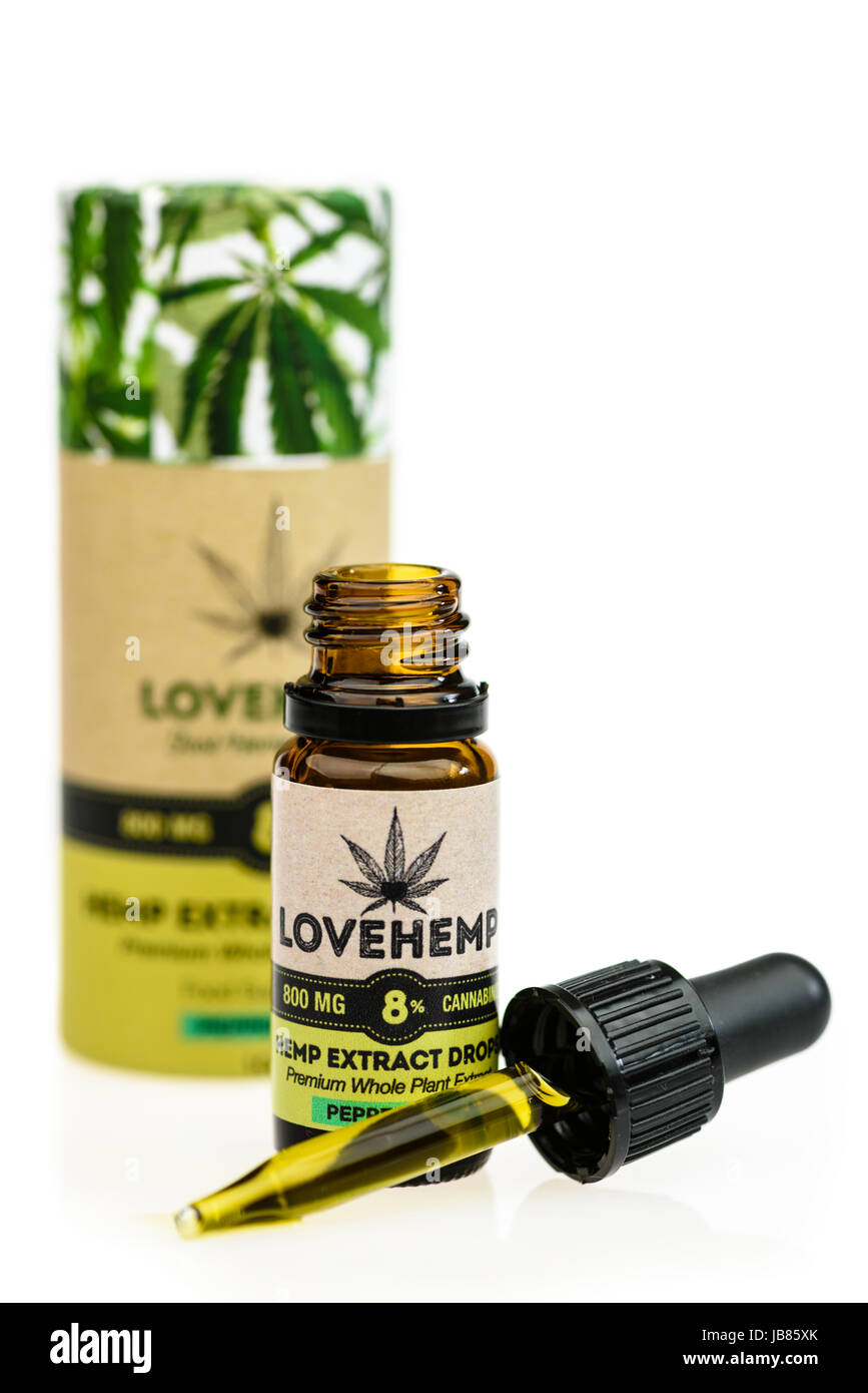 Hemp extract oil drops, high in Cannabinoids  It is often