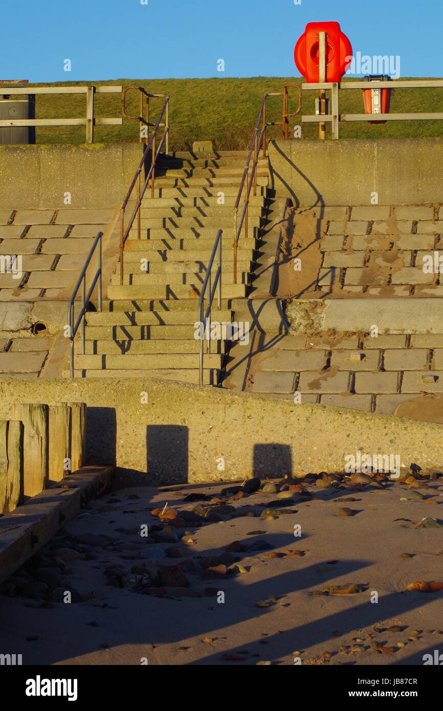 Aberdeen Beach Sea Wall Steps and Buoyancy Life Ring in the Golden ...