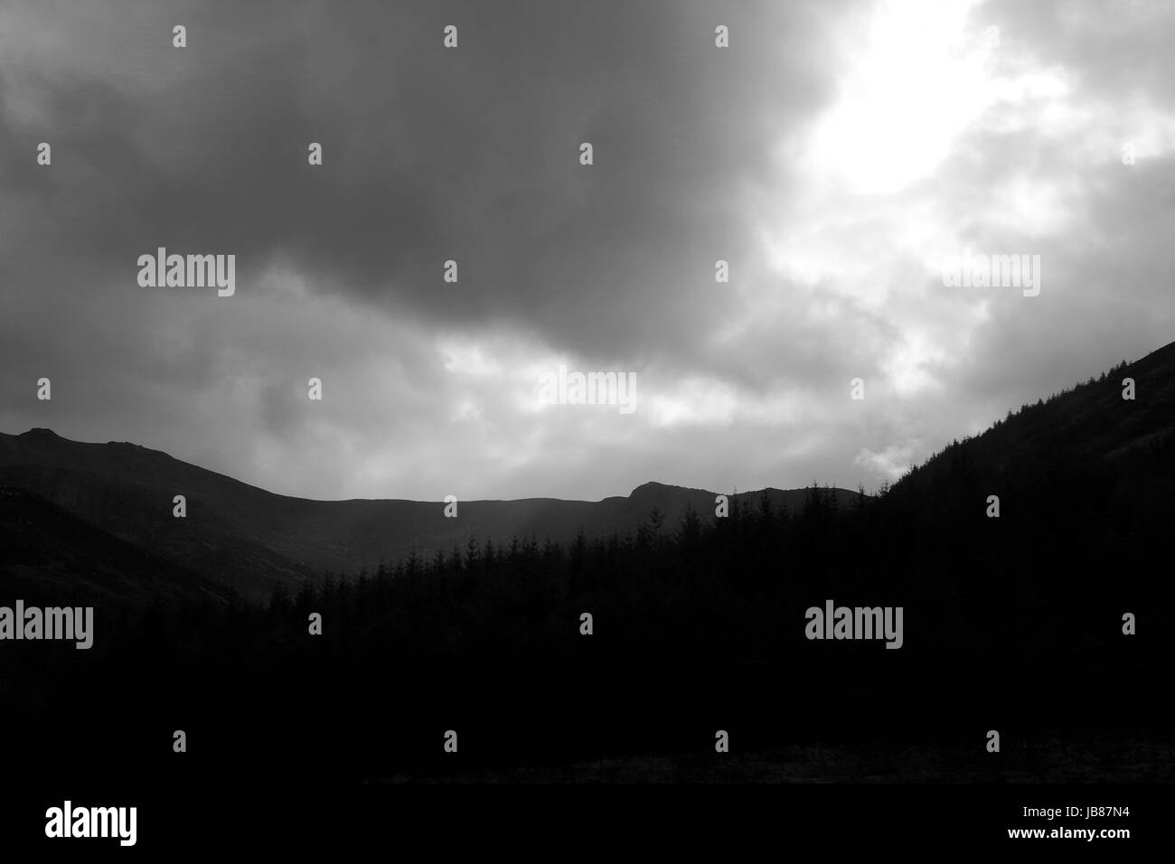 Dramatic Black and White Landscape of Hills and Conifer Plantation with Rays of Sunlight. Arran, Scotland. April, - Stock Image