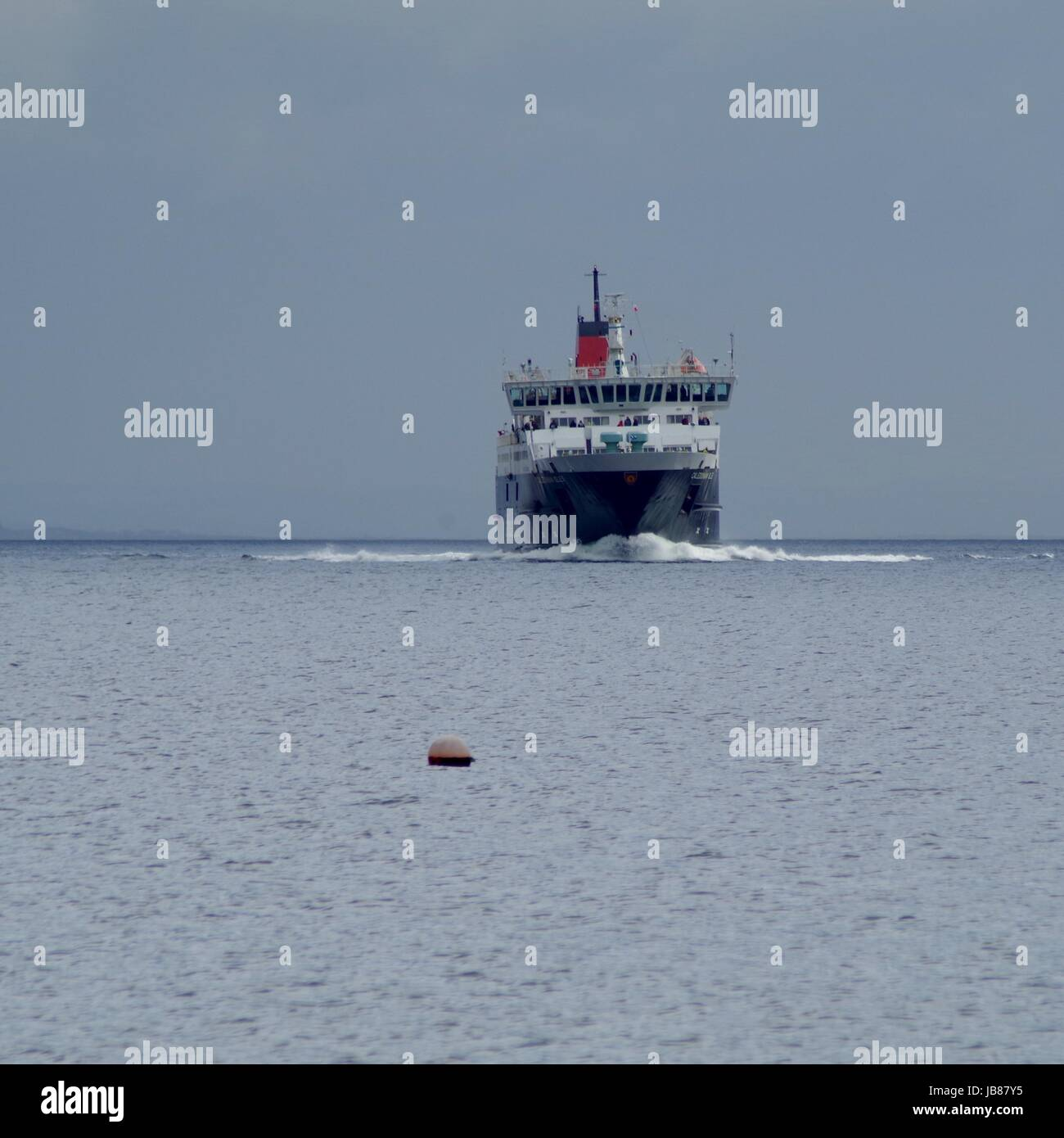 Caledonian MacBrayne Ferry Arriving in Arran's Brodrick Bay from the 55 Minute Crossing from Mainland Ardrossan. - Stock Image
