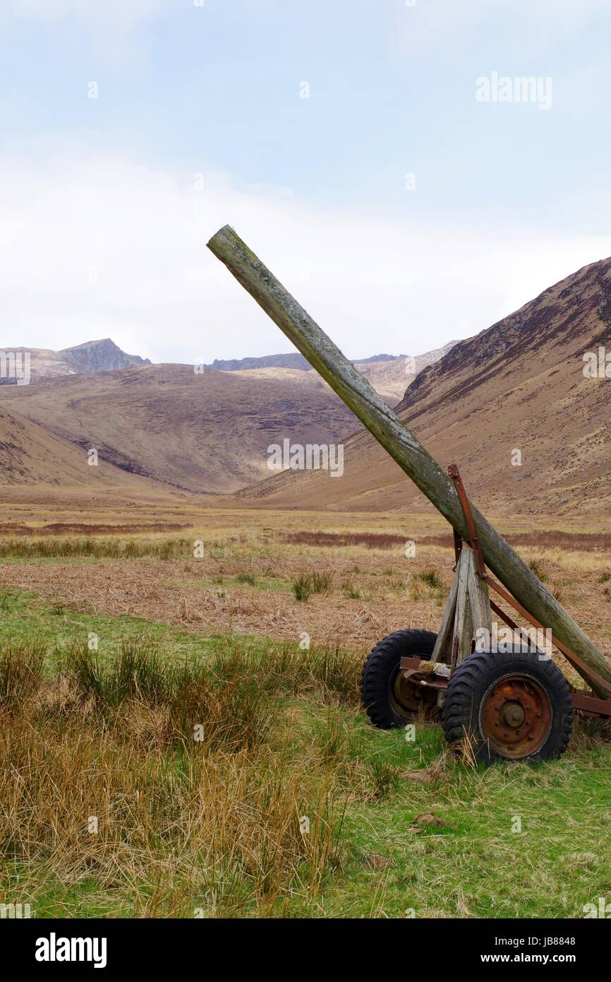 Curious Wooden Pole Apparatus on the Valley Floor of the Glen Rosa Landscape. Arran, Scotland. April 2017. - Stock Image