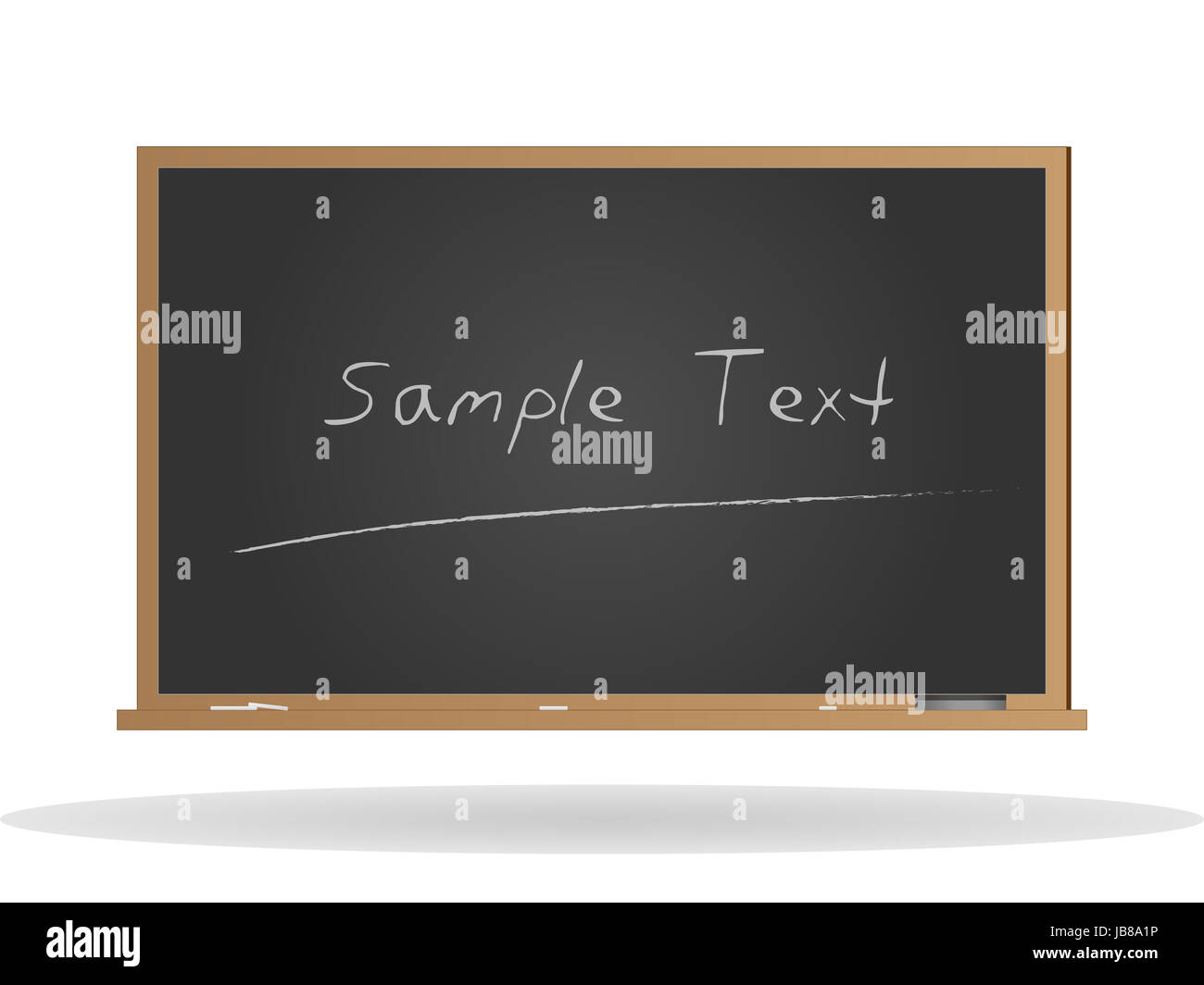 Image of a chalkboard with sample text isolated on a white background. - Stock Image