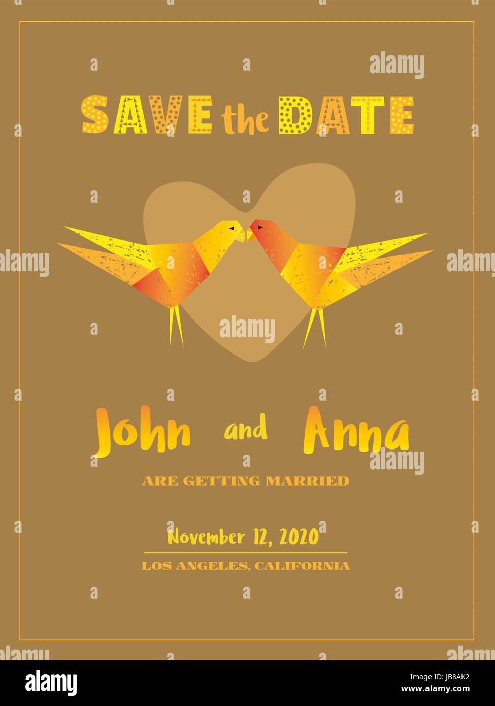 Save the date card template marriage invitation card with custom save the date card template marriage invitation card with custom sign hand drawn fancy style colorful couple of birds lovers wedding day announcem stopboris Choice Image