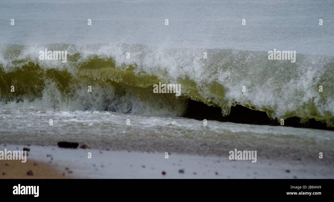 North Sea Waves Striking the Beach at Aberdeen, Scotland, April 2017. Stock Photo
