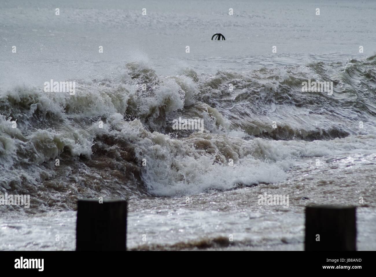 Textured Beach Breaking North Sea Wave on Aberdeen's Beach, April 2017. Scotland. - Stock Image