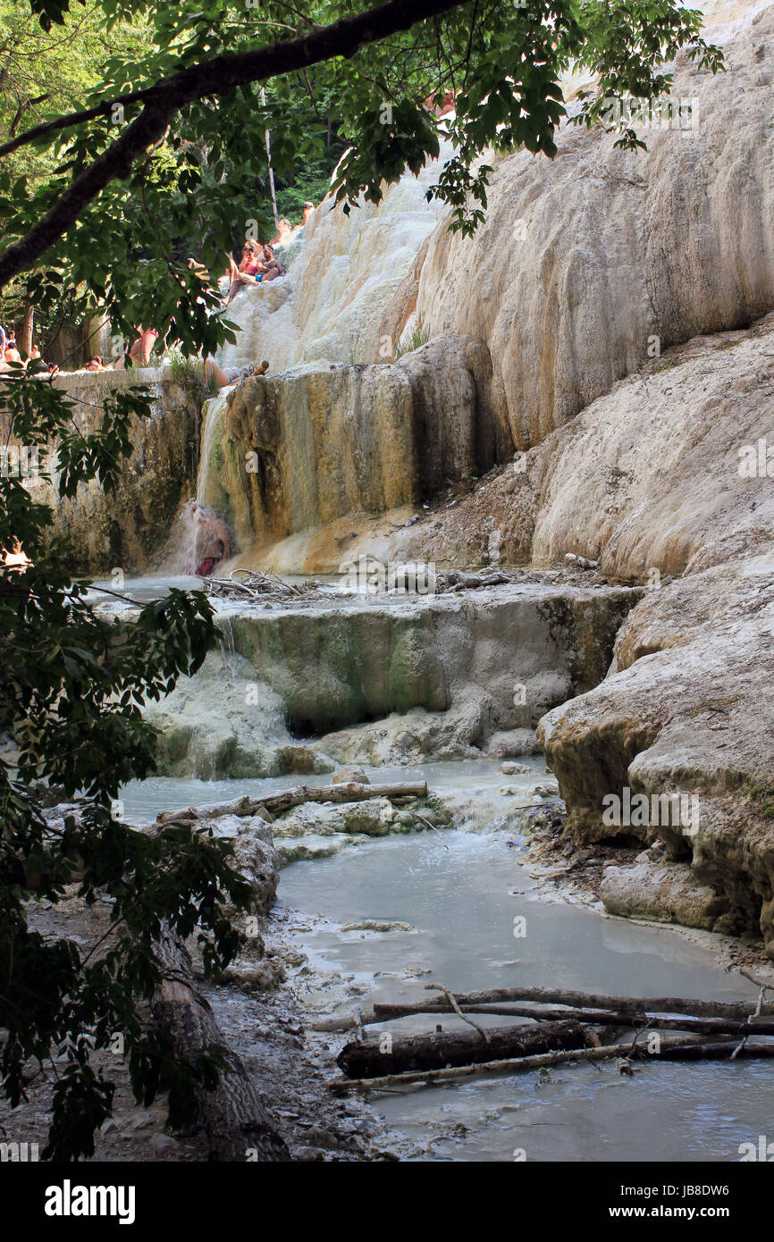 BAGNI SAN FILIPPO, ITALY - JUNE 2 2017: Mineral rock of Bagni San ...