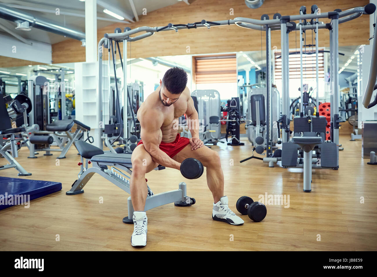 Bodybuilder does exercises with dumbbells in the gym - Stock Image