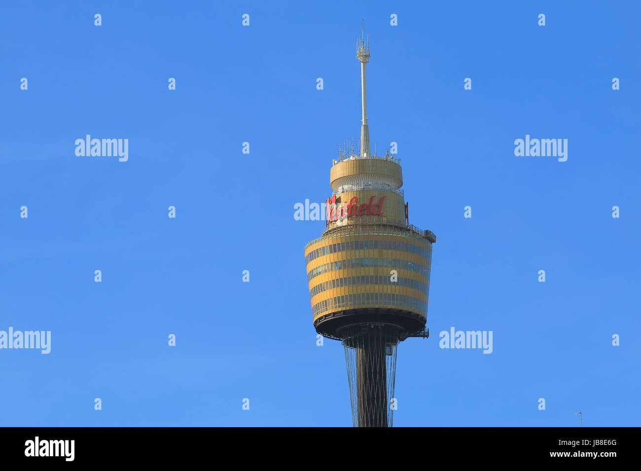 Sydney Tower Eye in Sydney Australia. Sydney Tower Eye is Sydney's tallest structure and the second tallest - Stock Image