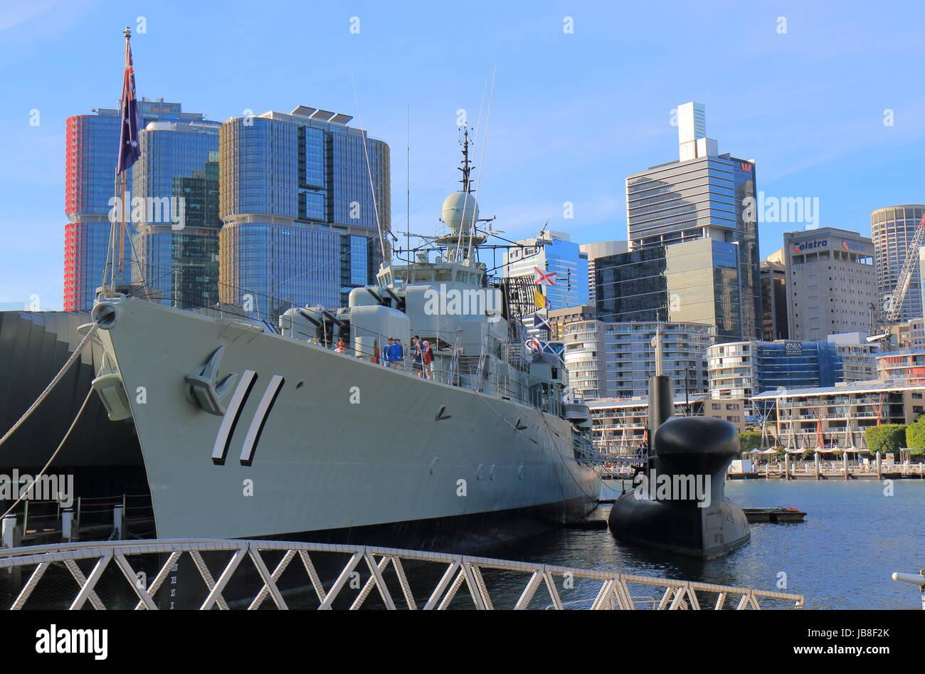 HMAS Vampire in Darling Harbour Sydney Australia. HMAS Vampire  is one of the first all welded ships built in Australia. - Stock Image