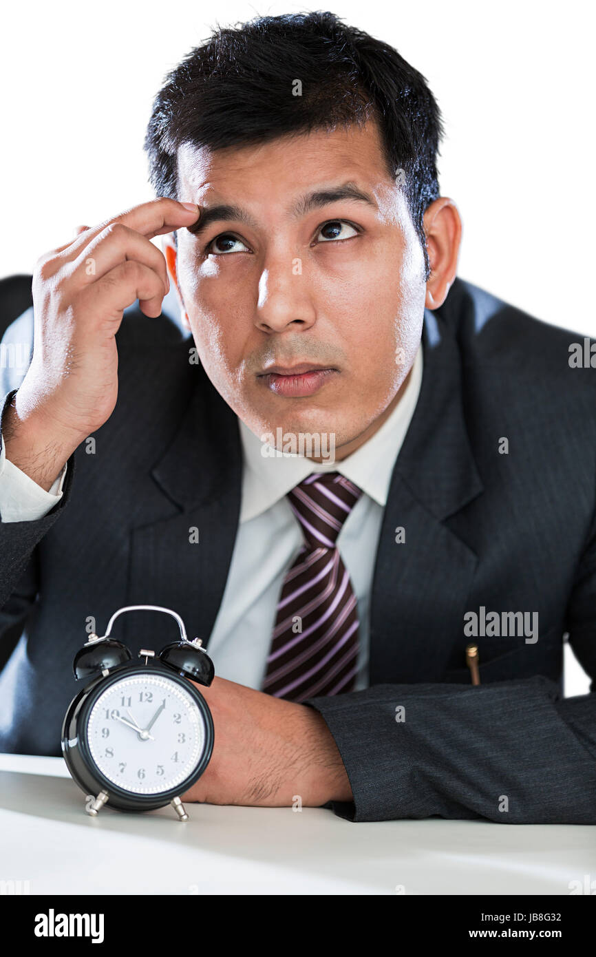 1 Indian Businessman Office Clock Thinking Punctuality Waiting - Stock Image