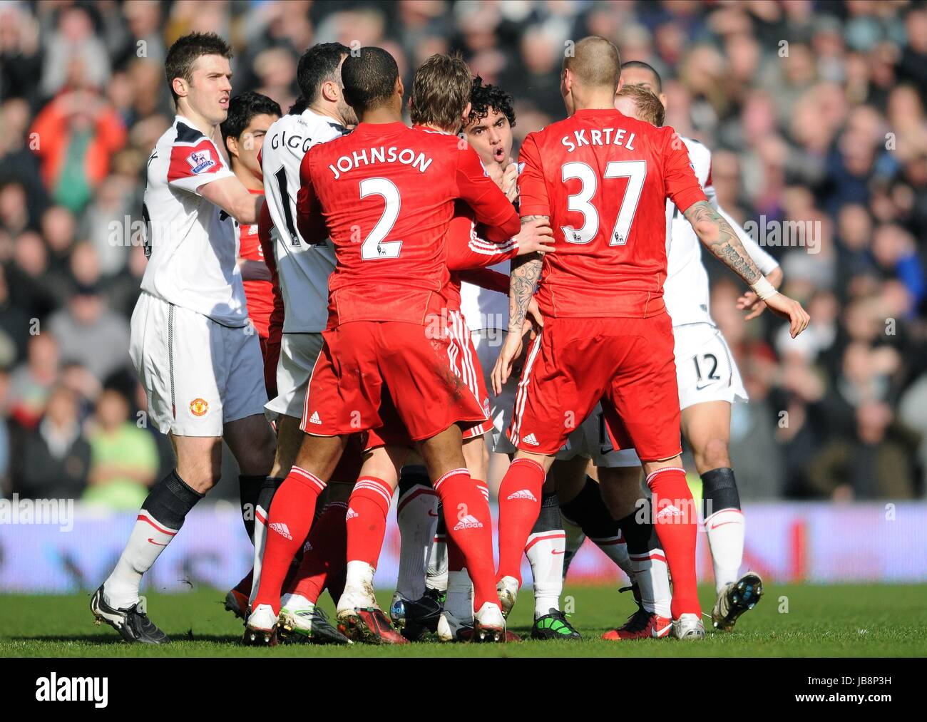 RAFAEL DA SILVA CLASHES WITH M LIVERPOOL V MANCHESTER UNITED ANFIELD LIVERPOOL ENGLAND 06 March 2011 - Stock Image