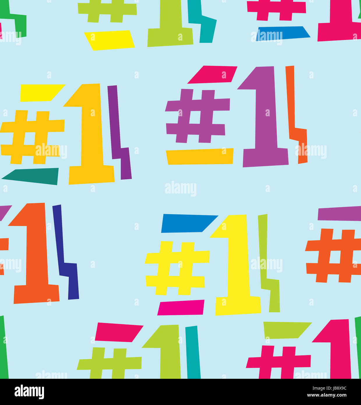 Seamless background pattern of number one in different colors Stock ...
