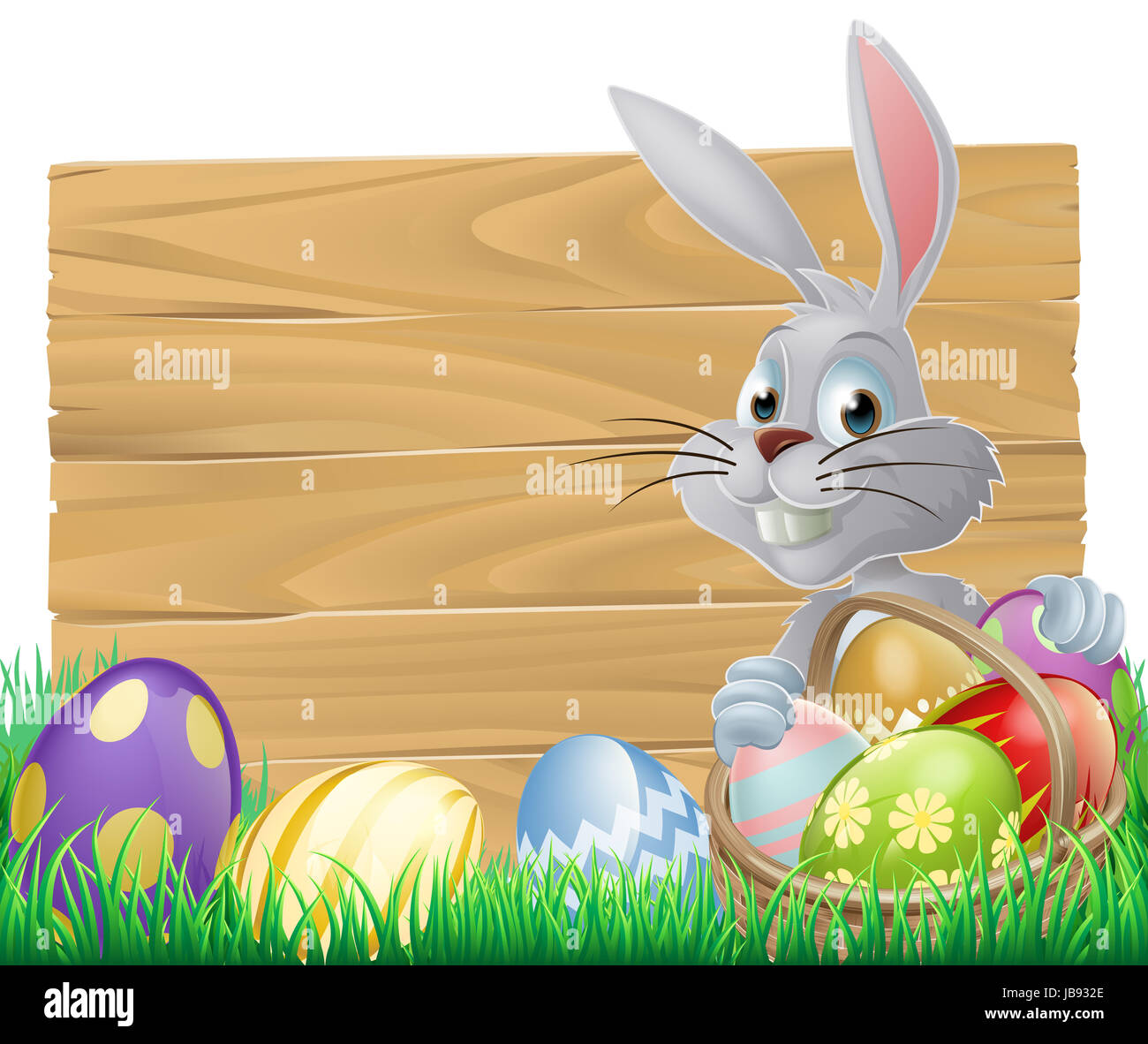 Easter Wood Sign With The Easter Bunny And Painted Easter Eggs Stock Photo Alamy