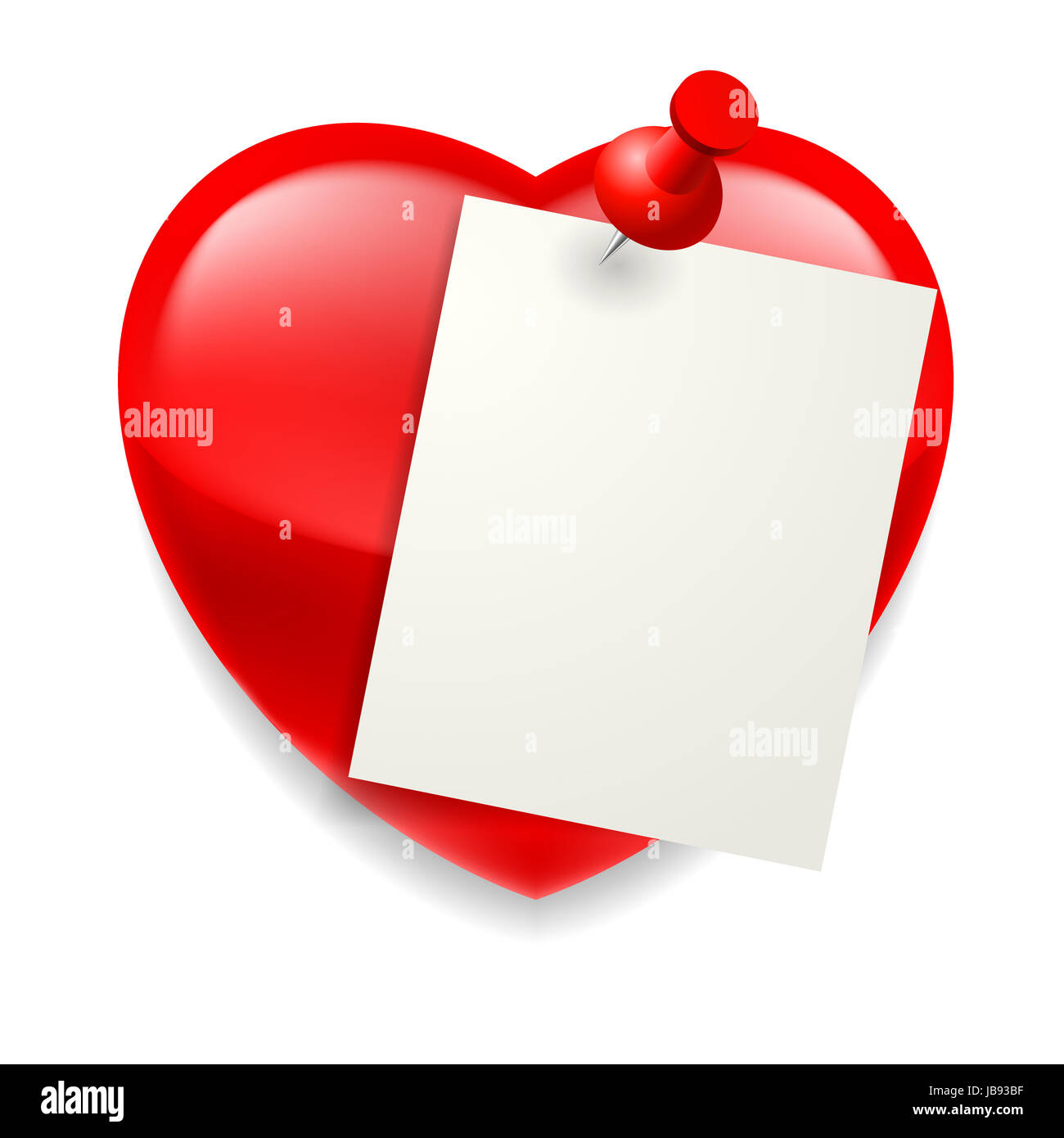 Blank paper sheet pinned on red shiny heart Stock Photo