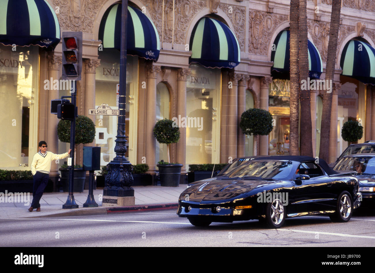 Outside the Beverly Wilshire Hotel at Wilshire Blvd. and Rodeo Dr. in Beverly Hills, CA - Stock Image