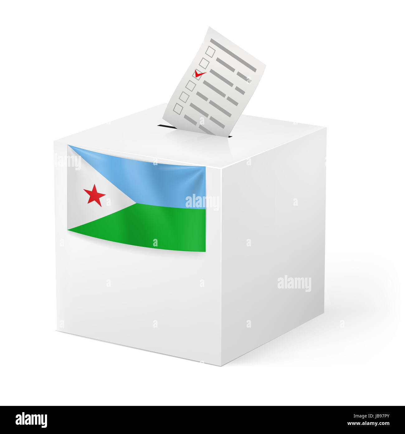Election in Djibouti: ballot box with voting paper on white background - Stock Image