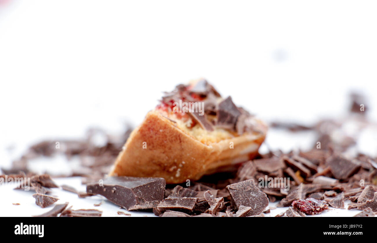 Chopped Cupcake filled with sweet fruit jelly ,image of a - Stock Image