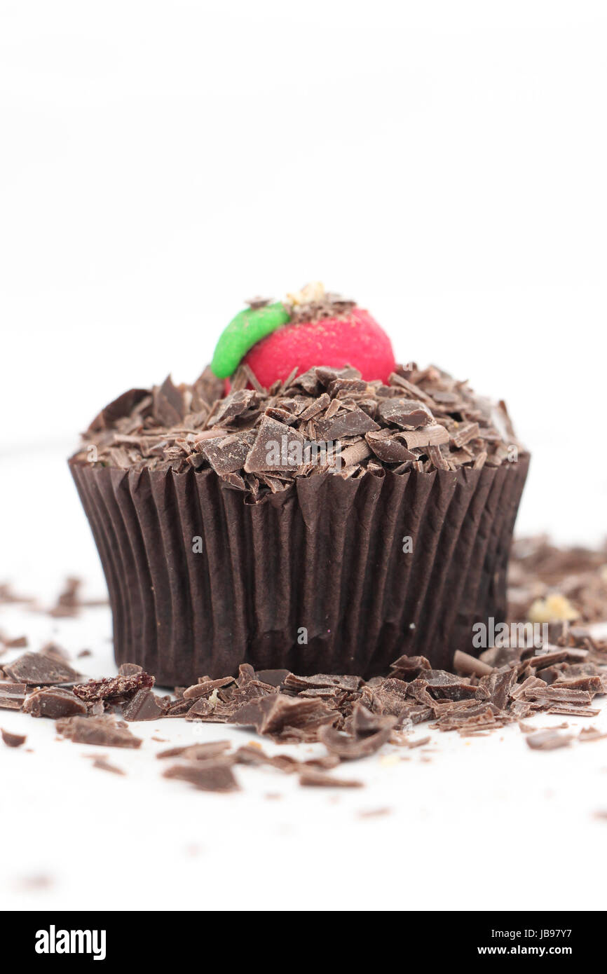 Cupcake with sweet sugar apple on a top,image of a - Stock Image