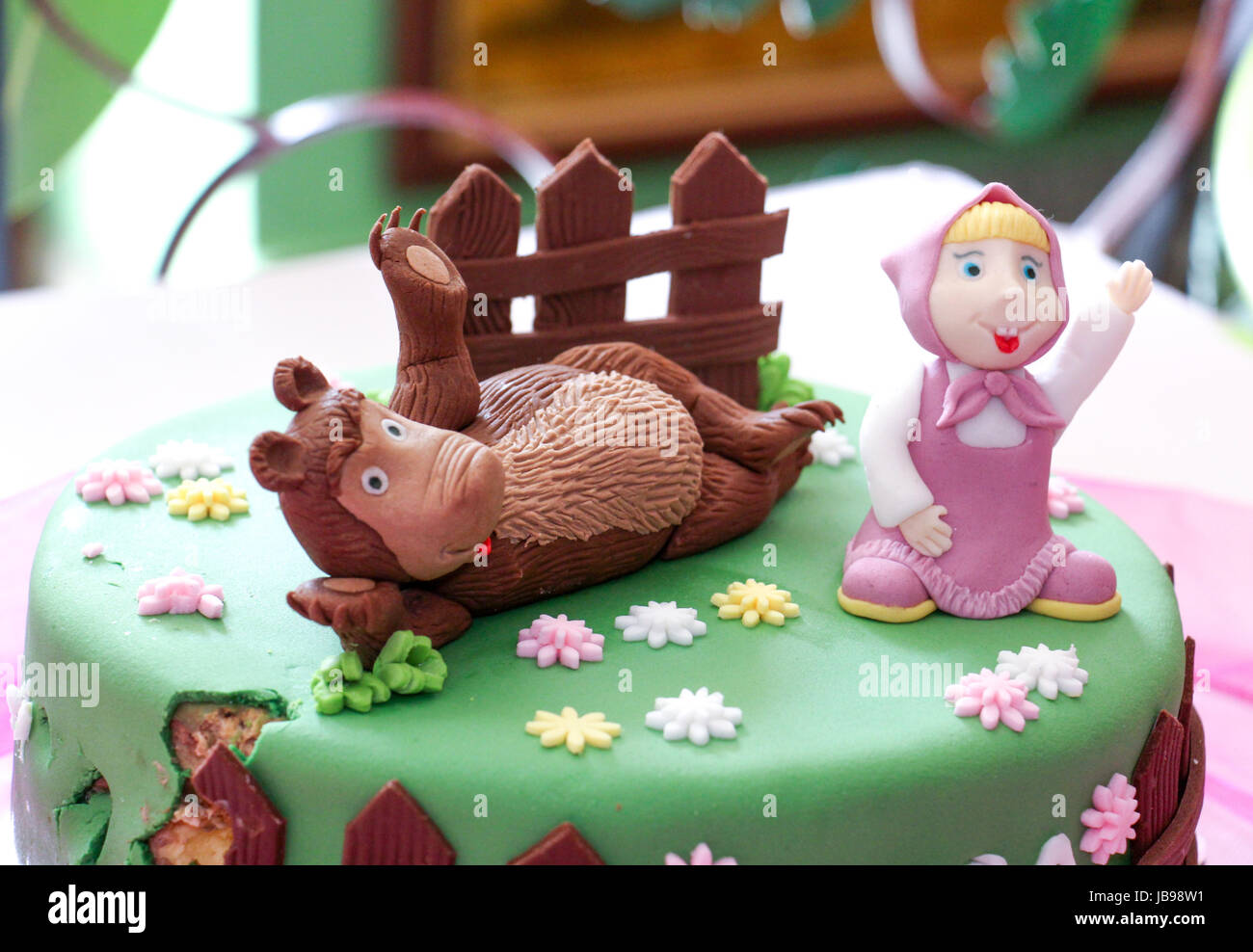 Birthday Cake With Sweet Teddy Bear Funny Homemade Image Of A